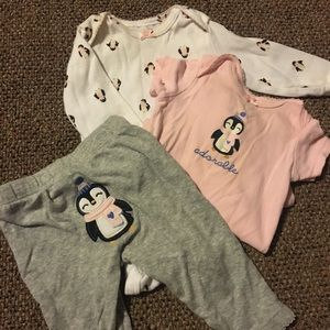 Three piece carters penguin outfit